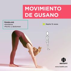 Movimiento de gusano. Ideal para trabajar hombros, pecho y abdomen. Pilates Video, Pilates Workout, Gym Workouts, Cardio, Do Exercise, Excercise, Training Motivation, Fitness Motivation, Yoga Fitness