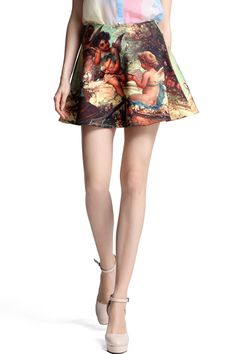 ROMWE | Retro Angel Canvas Skirt, The Latest Street Fashion  #ROMWE