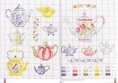 Gallery.ru / Фото #10 - 12 - OlgaHS miniature teapots cross stitch point de croix