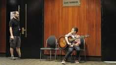 Contestant, Oliver Harrigan, 11, of Chapman, about to enter the audition room. Photo by Graham Tidy.