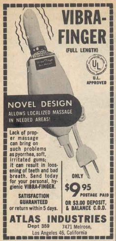 """The Vibra-Finger - """"Allows localized massage in needed areas!"""" (Um, no thanks.)"""