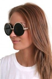 LE SPECS DING A LING BLACK & GOLD Round Sunglasses, Sunglasses Women, Le Specs, Black Gold, Eyewear, Accessories, Fashion, Moda, Eyeglasses