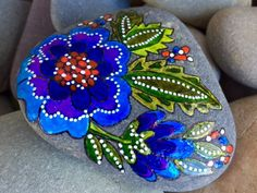 Blue boho / painted rock / boho flower / Sandi Pike Foundas / from the sea/ Cape Cod by LoveFromCapeCod on Etsy