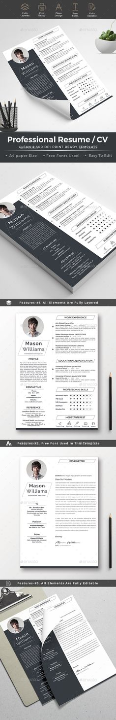 Clean Monotone Resume   CV Template Cv template, Resume cv and - buy a resume