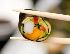 Paleo California rolls: no soy, no rice. Mango, smoked salmon, avocado, shrimp, red pepper..