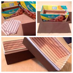 Storage boxes from empty diaper boxes, store bought duck cloth, and old receiving blankets! #DIY