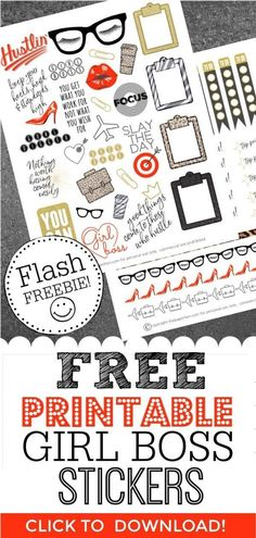Free Planner Stickers to Inspire the Girl Boss in us all! Looking for free digital printable planner stickers for planner decorating? Need some stickers for your Mambi Happy Planner or Erin Condren but it's. Planner Free, Planner Pages, Happy Planner, Planner Ideas, Monthly Planner, Project Planner, Planner Layout, Planner Decorating, Das Hotel