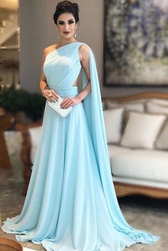 Light Blue One Shoulder Chiffon Formal Prom Gown Light Blue Prom Dresses, Blue Prom Dresses, Sleeveless Prom Dresses, Prom Dress, A-Line Prom Dresses Prom Dresses 2020 Simple Bridesmaid Dresses, A Line Prom Dresses, Cheap Prom Dresses, Chiffon Dresses, Blue Dresses, Chiffon Gown, Long Dresses, Net Dresses, Bridesmaid Gowns