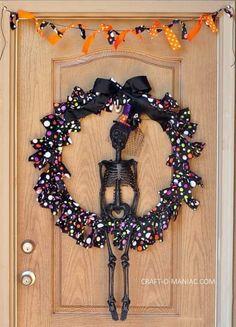 Mystical Skeleton Themed Door Decoration Idea