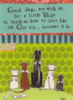 GOOD DOGS ARE WITH US FOR A LITTLE WHILE TO TEACH US HOW TO LOVE - LIKE IT'S OUR JOB......    BECAUSE IT IS!    ~I love this dog quote, it is SO true.  Lessons in loving from our most constant friends.