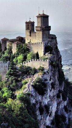 san marino, landscape, castle, cliff, houses, buildings, mountains, sky