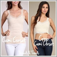 RESTOCKED! Latte Cami Corset Not just your basic cami. These Cami and Bralette corsette's have some added flair. Ruched and trimmed with lace. Super comfortable and stretchy one size fits all. Perfect fit, pair with blouses and tops. Color light beige latte. Made of a high quality nylon & spandex. Totally worth it I purchased one of these on vacation loved it so much I had to share with Posher's. lace Bralette Threads & Trends Intimates & Sleepwear Chemises & Slips