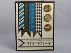 Stampin Up Handmade Happy Birthday Greeting Card: Masculine