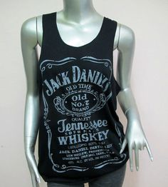Jack Daniel's Tennessee Whiskey T-Shirt Women shirt Tank Tops vest shirt silkscreen Chic shirt Rock Punk classic backless Black Q92 Size M L