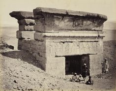 The gates of the Temple of Hathor at Dendera, Egypt, circa 1862.