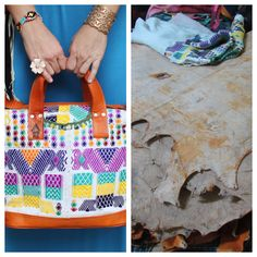 The finished product, Nich bag. Alongside the huipil and sheepskin it once was.