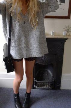 grey oversize slouchy knit