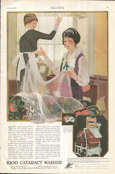 ... Cataract Washer Electric 1920 Women Washing Window Curtains (Image1