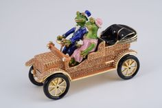 Mr. & Mrs. Frog Car Faberge Styled Trinket Box Handmade by Keren Kopal Enamel Painted Decorated with Swarovski Crystals
