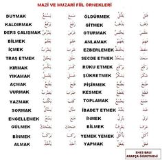 Turkish Lessons, Arabic Lessons, Learn Turkish Language, Arabic Language, Arabic Verbs, History Of Pakistan, Learn Arabic Online, Learning Arabic, Vocabulary