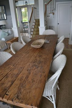 wide plank farm table is awesome and simple