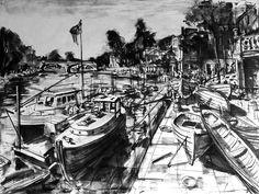 'Summer Breeze' Gerard Byrne, charcoal on canvas, 101x76cm, Richmond, London, United Kingdom, www.gerardbyrneartist.com