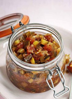 This recipe for spiced courgette chutney is really easy to make and produces a chunky, vibrant chutney that's a great accompaniment to many dishes and also makes a lovely gift. Bbc Good Food Recipes, Vegetarian Recipes, Yummy Food, Vegan Vegetarian, Chutneys, Courgette Chutney Recipe, Dips, Canning Recipes, Gin Recipes