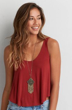 AEO Soft and Sexy Swing Tank  by  American Eagle Outfitters | Our AEO Soft and Sexy collection is swingy, drapey and silky soft… Proof that style and comfort aren't mutually exclusive.  Shop the AEO Soft and Sexy Swing Tank  and check out more at AE.com.