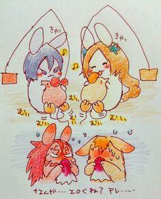 Bleach// Ichigo, Renji, Rukia and Orihime bunny