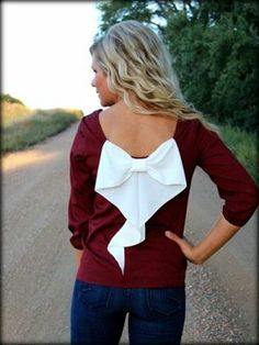 Maroon and White Plus Size Bow Back Blouse: Filly Flair