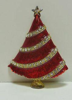 Eisenberg Ice Rhinestone Christmas Tree Brooch Vintage