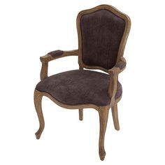 Showcasing dark purple upholstery and a wood frame, this stylish arm chair is a perfect addition to your eat-in kitchen or dining room.