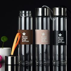2016 High quality 450ML Glass water bottle with tea infuser my drink 450ml whey protein shaker sports bottle travel bottles mug