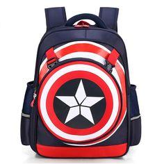 New Primary School Trolley Bags Captain America Children Anime Backpack Schoolbag Child with Wheels ;School bags with trolley School Bags With Wheels, School Bags For Boys, Boys Backpacks, School Backpacks, School Trolley Bags, Captain America, Personalized Backpack, Waterproof Backpack, Kids Bags