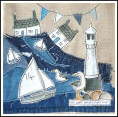 Like the simplicity in line yet conveys the concept. Freehand Machine Embroidery, Free Motion Embroidery, Embroidery Applique, Sewing Appliques, Applique Patterns, Denim Kunst, Quilting Projects, Sewing Projects, Terra Nova