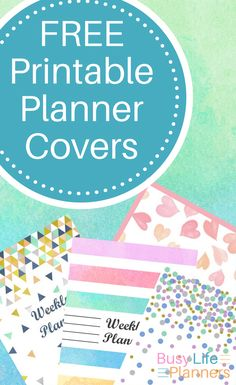 Free printable planner covers - 4 designs suitable for journals, weekly planners and binders. By Busy Life Planners