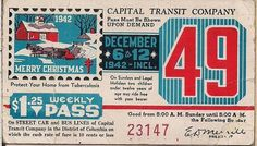 """""""Merry Christmas 1942"""" Capital Transit Company Weekly Pass."""