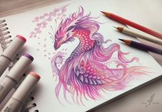 Color Pencil Drawing dragon color pencil drawing - Color Pencil Drawings: Color pencil drawings are a fantastic medium to work on. Depending on the brand and quality of pencils, you can find them in different prices. Once you master five techniques i Fantasy Drawings, Fantasy Art, Colorful Drawings, Cute Drawings, Realistic Drawings, Pencil Drawing Tutorials, Drawing Ideas, Drawing Tips, Pencil Sketching