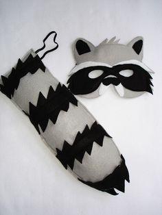 Children's Woodland Animal RACCOON Felt Mask and Tail Set. $28.00, via Etsy.