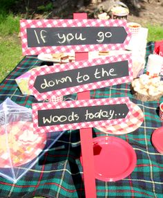 Complete your teddy bear's picnic party with this cute teddy bear picnic sign. A fun summer party theme for kids.
