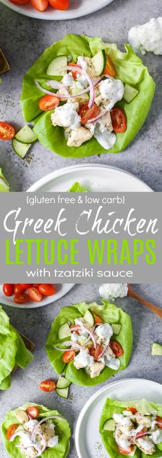 Low Carb Gluten Free Greek Chicken Lettuce Wraps with Tzatziki Sauce - an easy healthy 30 minute meal your family will devour!