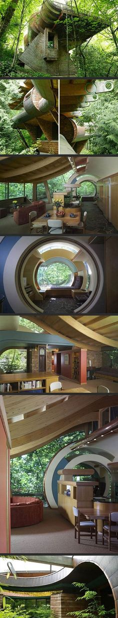My heart stopped when I saw this house. This would be my absolute dream house ❤️ Whimsical Wooden Tree House Brings Nature, Music to Life in Portland, Oregon - Architect Robert Harvey Oshatz : trendir Future House, Wooden Tree House, Wood Tree, Architecture Cool, Organic Architecture, Secret House, Secret Rooms, Unusual Homes, House In The Woods