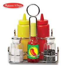 Pretend Food, Play Food, Pretend Play Kitchen, Food Food, Ketchup, Arty Toys, Condiment Sets, How To Iron Clothes, Melissa & Doug