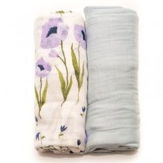 Blue Wildflower Bamboo Muslin Swaddle Blanket - Set of 2