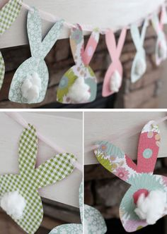 Bunny Garland | Click Pic for 22 DIY Easter Decor Ideas for the Home | Easy Easter Decorations for Kids to Make