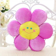 Cartoon Sunflower pillow plush toys cute smile sofa cushions