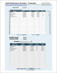Debt Snowball Calculator - Extended Version