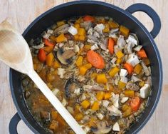 Chicken or Turkey & Wild Rice Soup, hearty soup with leftover chicken or turkey, butternut squash, wild rice. For Weight Watchers, #PP6.