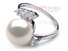Shop White Cultured Freshwater Pearl Ring AA+ quality - Solid Gold Ring Setting with CZ Stone Accent on ShecyPearls! Pearl Jewelry, Diamond Jewelry, Pearl Rings, White Freshwater Pearl, Solid Gold, Sterling Silver Rings, Gemstones, Engagement, Wedding Things