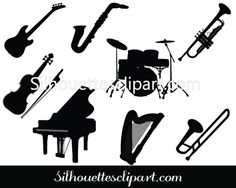 Violin, guitar, piano added to this Music Instruments Silhouette Vector Graphics Pack perfect for music logos, flyers, greetings etc. Music Silhouette, Silhouette Vector, Vector Clipart, Free Vector Graphics, Music Logo, Kinds Of Music, Vector Design, Diy Art, Stencils